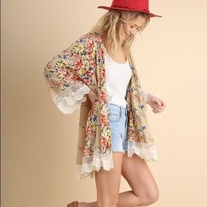 Umgee Floral Printed Kimono with Lace